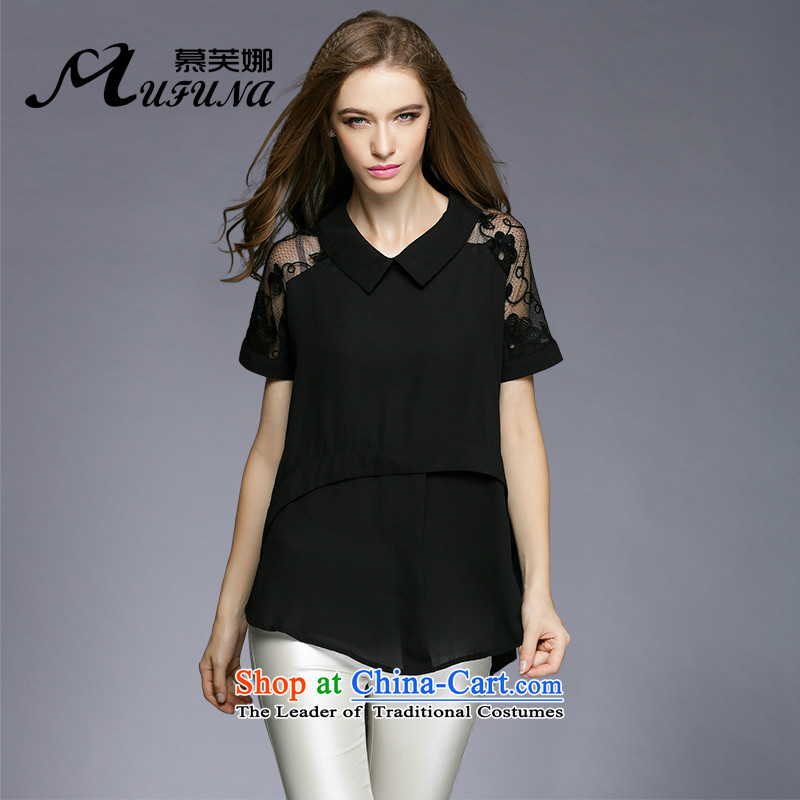 Improving access to the 2015 XL female thick mm video thin, summer new lace fluoroscopy trendy code loose shirt short-sleeved T-shirt?3375?Black?XXL