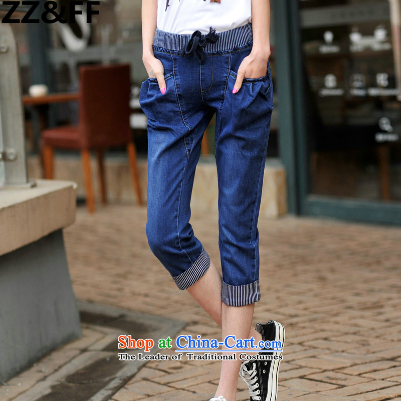 Large Zz_ff Women 2015 mm thick summer 200 catties Harun trousers larger ladies pants Capri girl jeans picture color XXL_ recommendations 130-165 catties_
