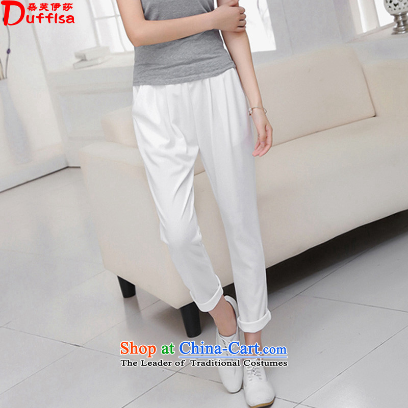 Flower to Isabelle 2015 new MM thick larger female thin, The chiffon casual pants Castor Harun trousers female white XXXL D1868 Summer