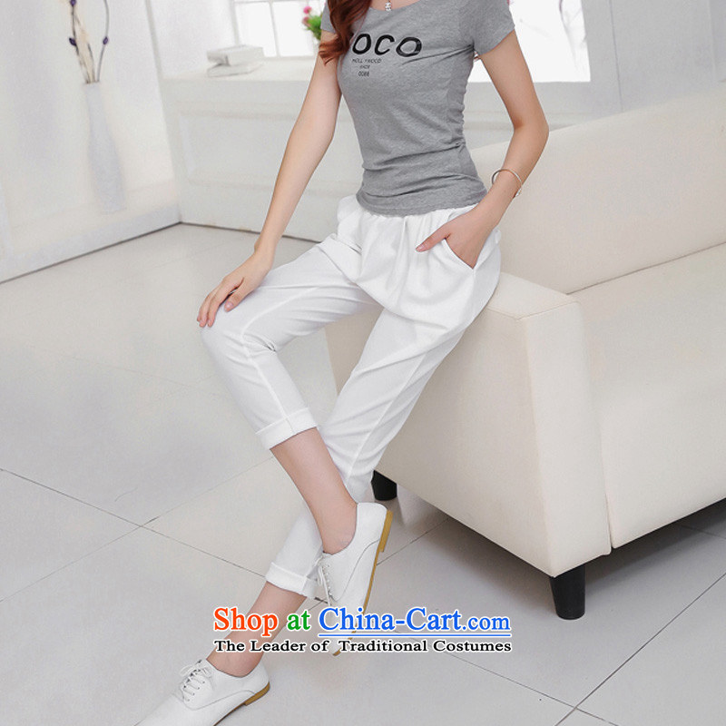 Flower to Isabelle 2015 new MM thick larger female thin, The chiffon casual pants Castor Harun trousers female D1868 XXXL, white flower summer to Isabelle (dufflsa) , , , shopping on the Internet