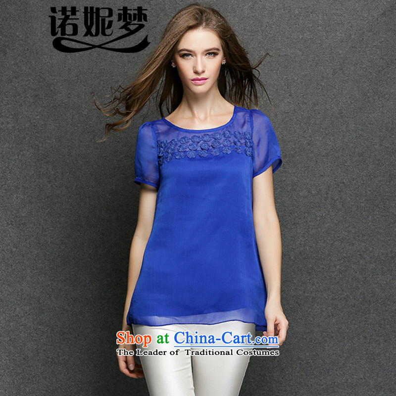 The maximum number of Europe and Connie Women's Summer thick sister new elegant embroidery 2015 fluoroscopy video thin short-sleeved T-shirt female clothes y3395 XXXL blue