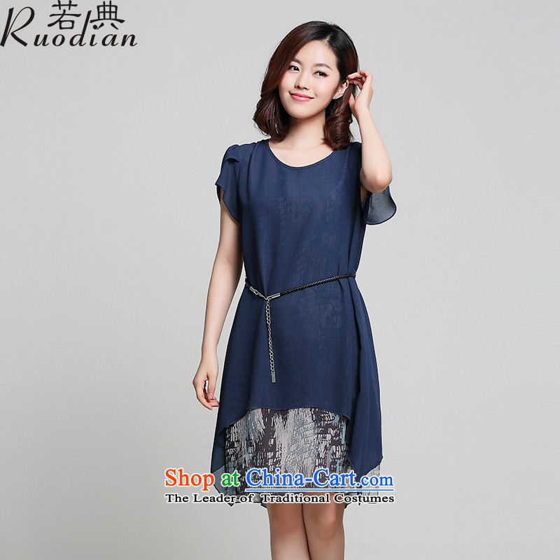 If the code to increase women's code 2015 mm thick summer chiffon short-sleeved Korean loose video thin leave two garment navy4XL