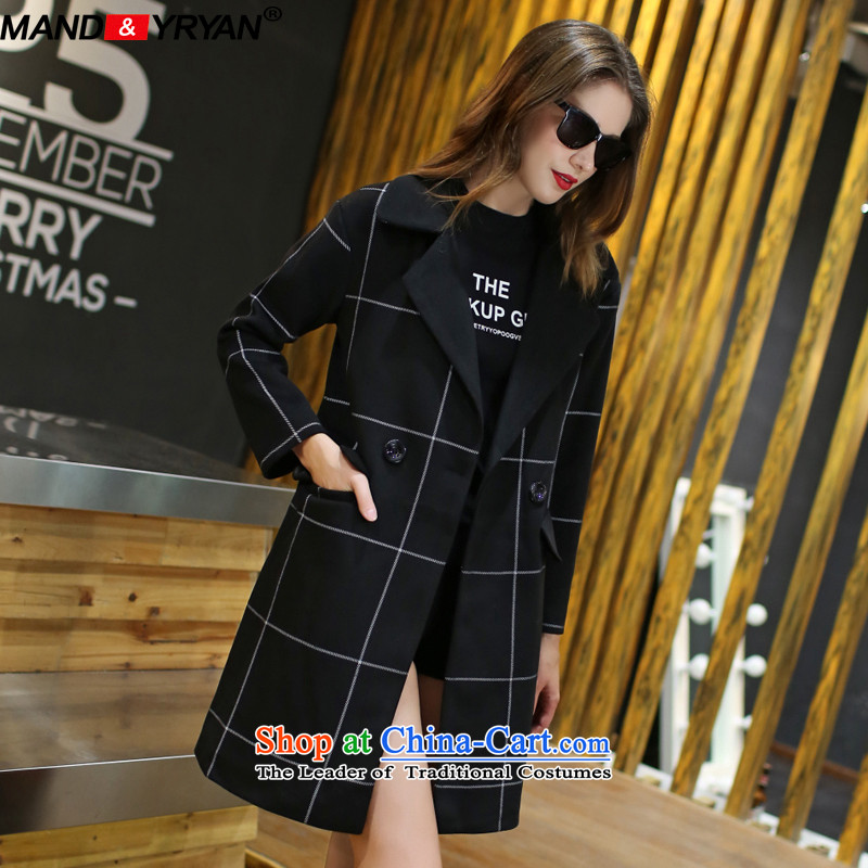 Mantile en code women with thick hair fall? Long girls jacket Korean windbreaker to intensify the thick MM loose video thin double-coats black /MDR2138 gross? XXXL150-160 around 922.747