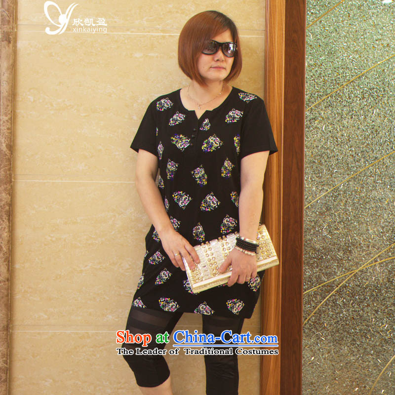 Welcoming the Kai Ying Xia 2015 high-end to increase women's extra-thick people dress thick MM Sau San video thin large women in long short-sleeved T-shirt black L