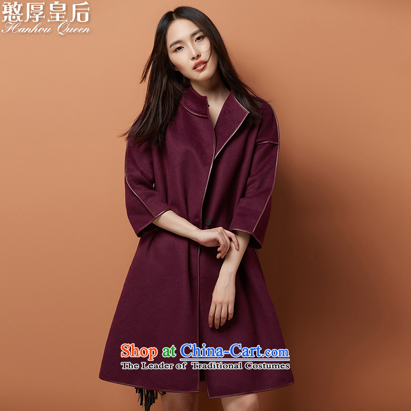 Queen's 2015 autumn and winter shows the new two-sided woolen coat female Long Hoodie gross jacket han bum chestnut horses? L