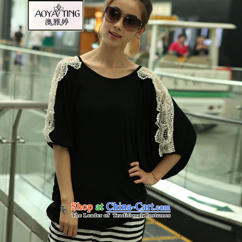 O Ya-ting 2015 new to xl female summer thick mm video thin lace t-shirt female short-sleeved T-shirt black large numbers are Code recommends that you 100-200 catty