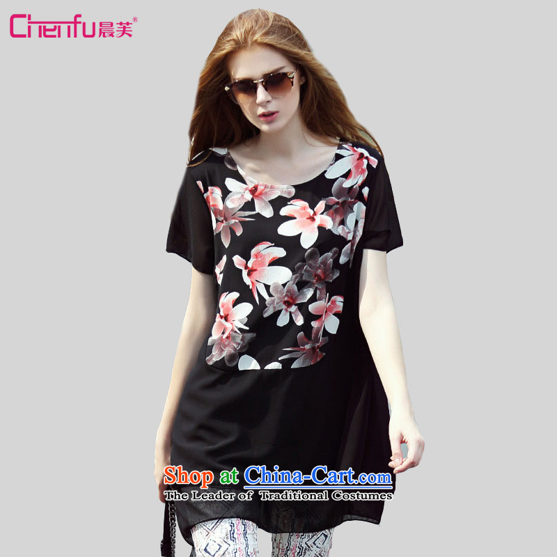 Morning to thick mm to increase women's code for summer 2015 Western New wild lilies of the liberal stamp round-neck collar short-sleeved in long-sleeved clothes chiffon black 4XL( suitable for coal) 150 - 160131