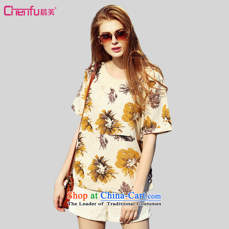 2015 summer morning to the new Europe and to increase the number of women with thick mm wild loose video thin knocked linen daisy stamp T-shirt shirt map color M for 100-110 catties)