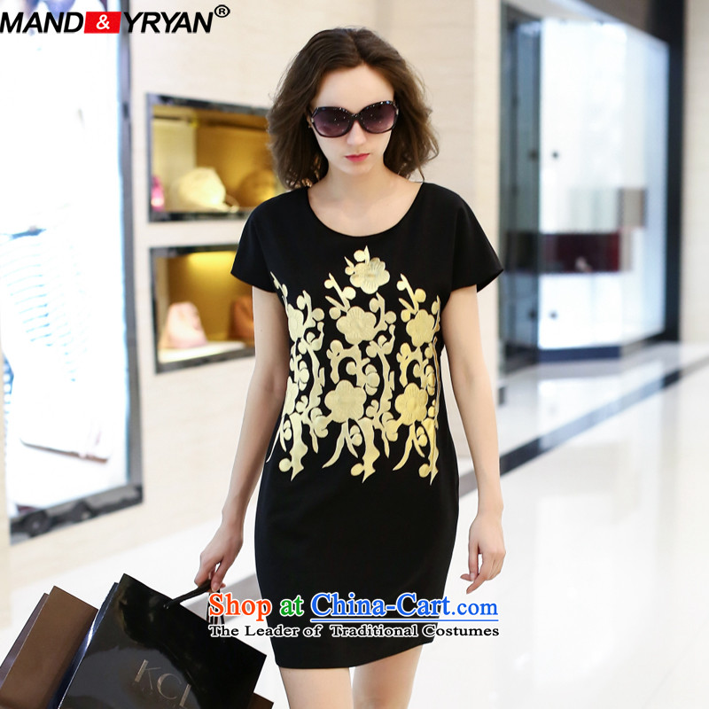 Mantile Eun European site large 2015 Women's Summer new mm thick gold stamp Sau San graphics package and short-sleeved thin skirt around 922.747 XXXXL165-175 MDR1941 black