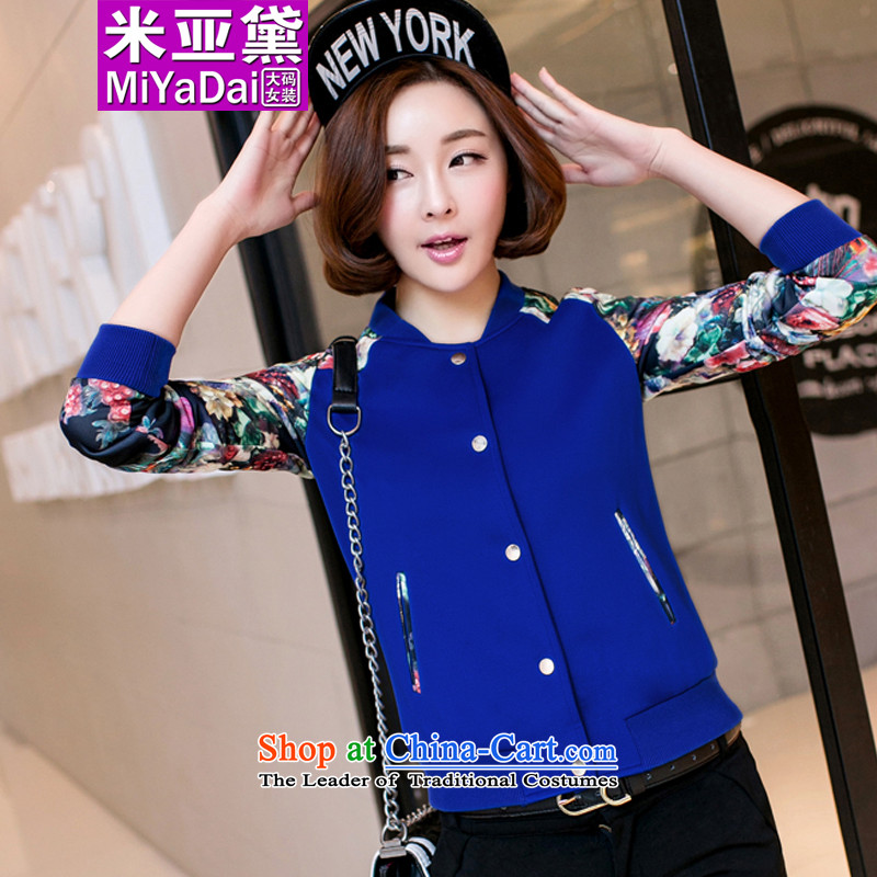 The Doi larger women during the spring and autumn jacket thick sister 2015 new Korean Version Stamp to increase thin 200 catties casual jacket color blue聽3XL_ female 150-170_ Recommendations