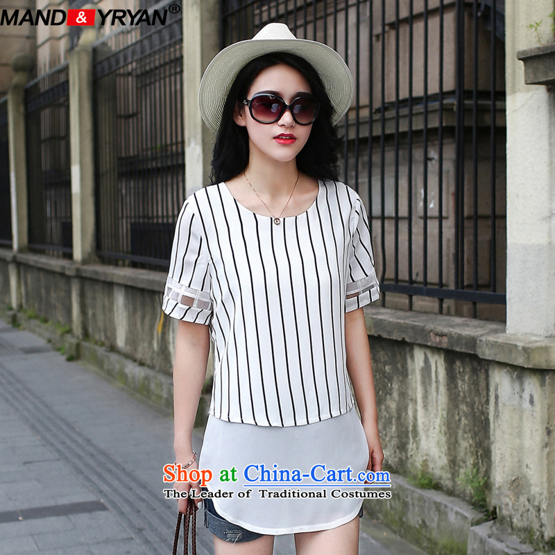 Mantile tu 2015 new ultra large female Striped Tee thick mm summer thin thick sister in graphics long chiffon shirt figure _MDR1767 XXXXXL180-195 around 922.747