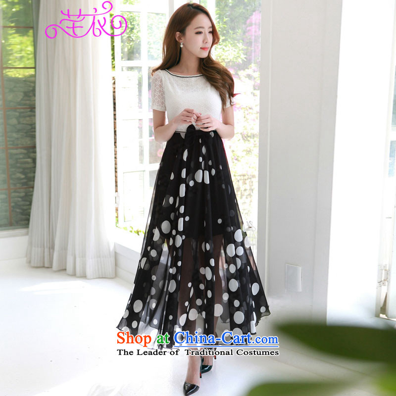 In Korean mm2015 thick sexy a field for the bubble short-sleeved lace stitching chiffon wave point temperament graphics slender skirt xl summer lady dresses white to large 4XL 150-165¨catty