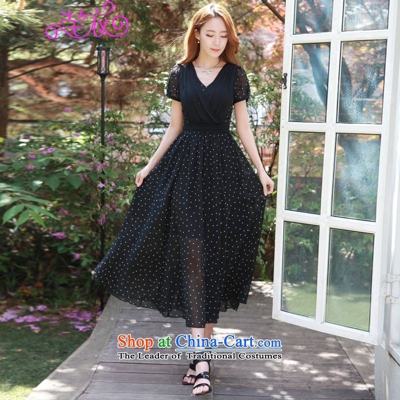Korean women's 2015 new xl female large casual elegance long skirt thick mm summer stylish wave point Sau San video thin temperament dresses black large 3XL 145-160 catty