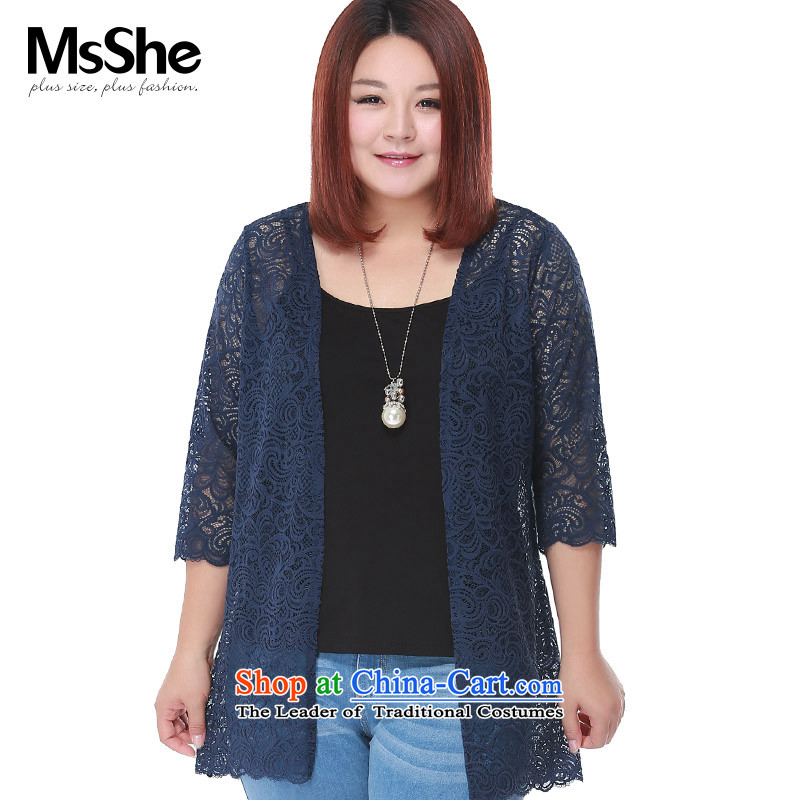 Msshe xl women 2015 new fall thick MM wild lace cardigan jacket in long 2980 Navy�L