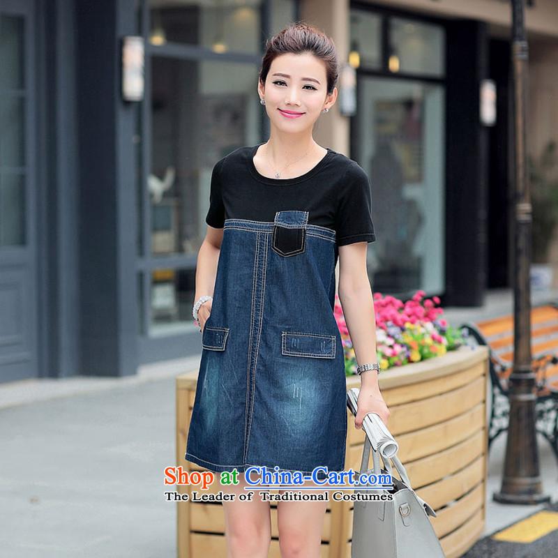 El-ju Yee Nga2015 Summer new thick sister video thin denim dress larger women's dresses YS5065 blackL