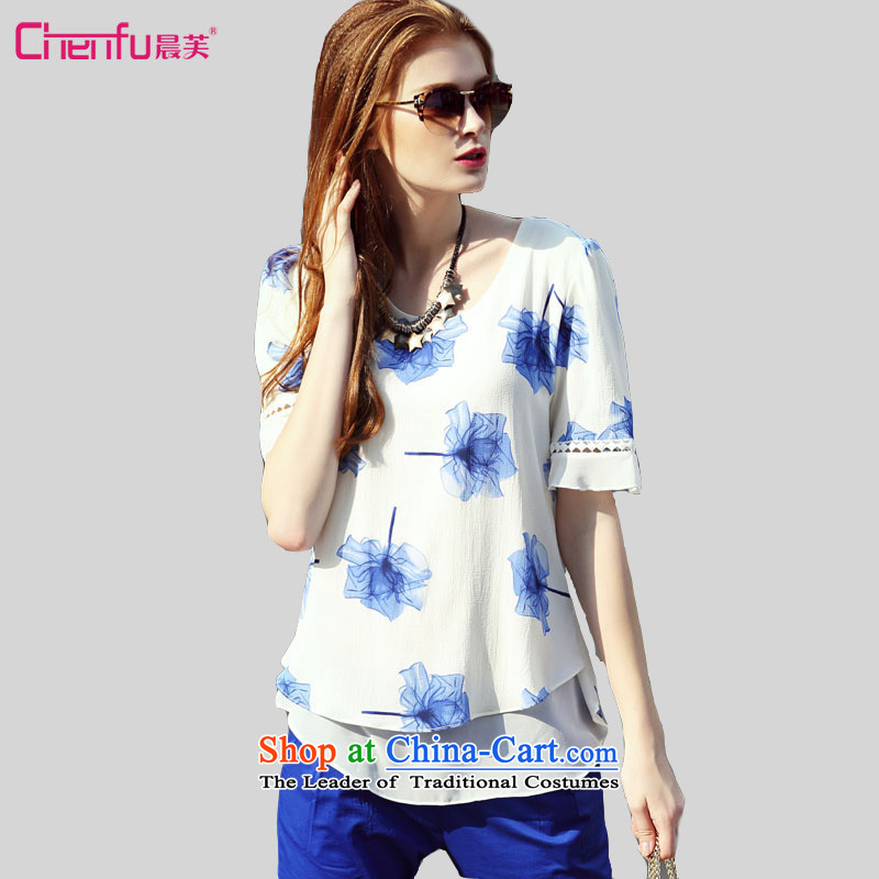 Morning to to increase the number of female new summer 2015, Western liberal leave two bubble-sleeve T-shirt thick mm sweet knocked-color printing chiffon Netherlands shirt White燤 for 100-110 catties_