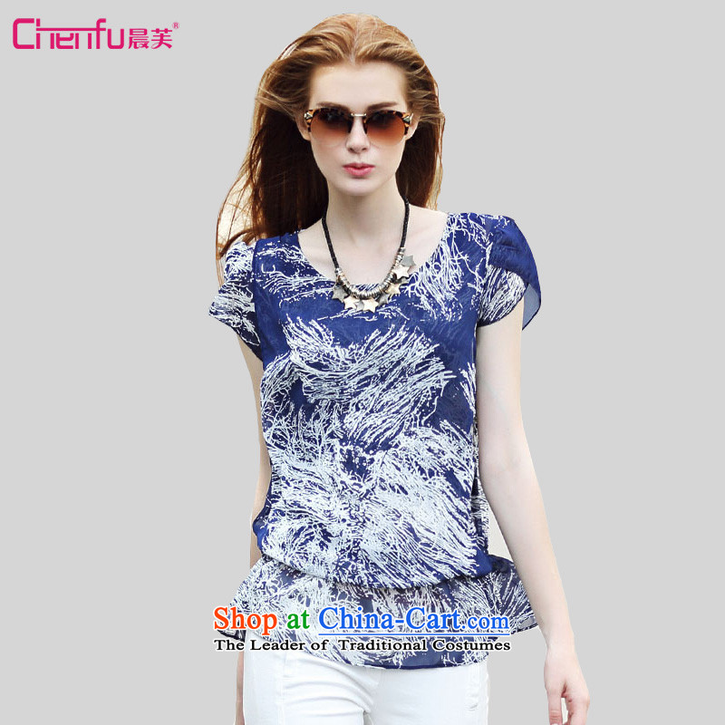 Morning to 2015 to increase the number of women in the new Europe and summer loose round-neck collar chiffon T-shirt thick mm wild temperament collision-color printing chiffon Netherlands shirt blue�L_ suitable for 130-140 catties_