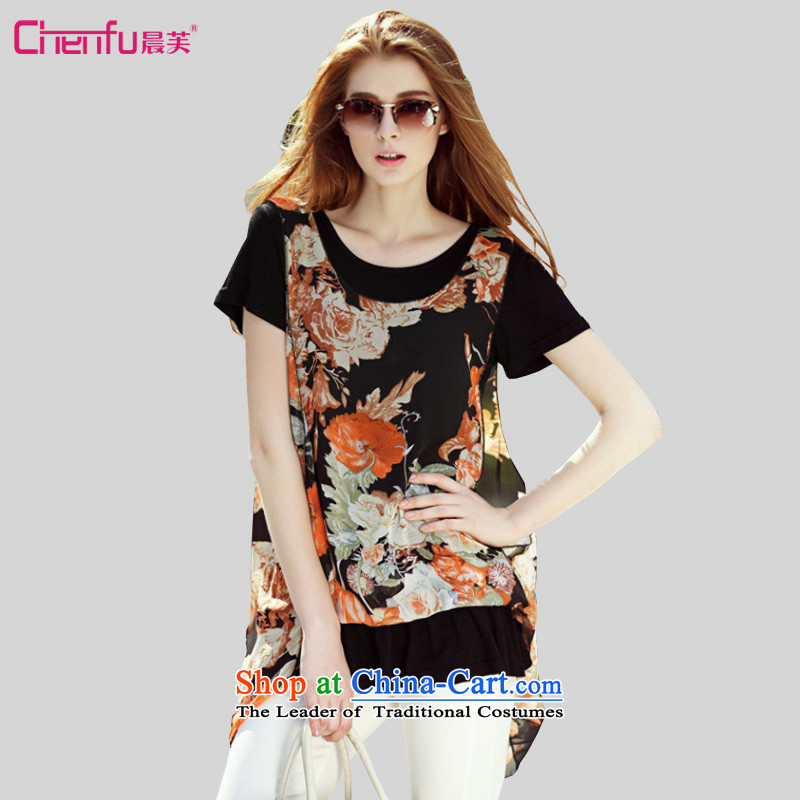 Morning to 2015 mm thick summer new Western liberal leave two large clothes to xl female wild video thin collision-color printing chiffon shirt T-shirt black orange flower�L_ suitable for 140-150catties_
