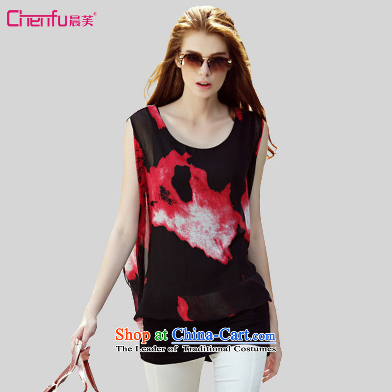 2015 summer morning to the new Europe and to increase the number of women with thick mm wild stylish colors in the long hit temperament, leave two stamp chiffon shirt T-shirt black safflower�L_ suitable for coal_ 150 - 160131