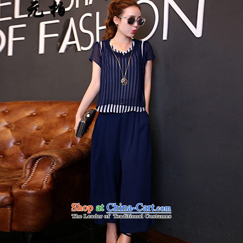 In Europe and the large park stylish women's summer new streaks chiffon shirt two kits thick MM loose video thin Capri Dark Blue 1653 4XL around 922.747 paragraphs 165-175 under