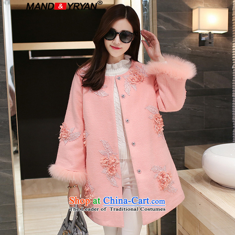 Mantile en code women for winter high-end embroidery? In gross jacket long Korean thick MM video thin A gross coats pink _MDR7115? XXXL150-160 around 922.747