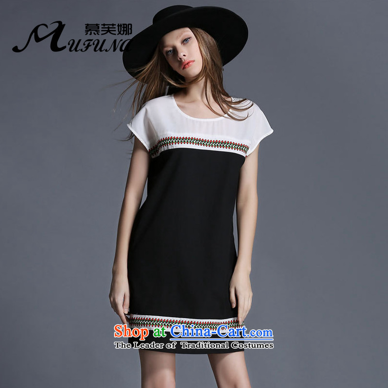 Improving access of 2015 mm to thick xl Women's Summer new personality thick, Hin thin retro elements dressBlack 1913XL