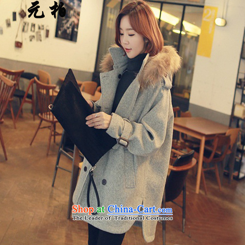 In 2015, Park winter clothing new larger women in long hair? jacket thick MM to intensify the sheep a wool coat gray 900 paragraphs 165-175 under about 4XL