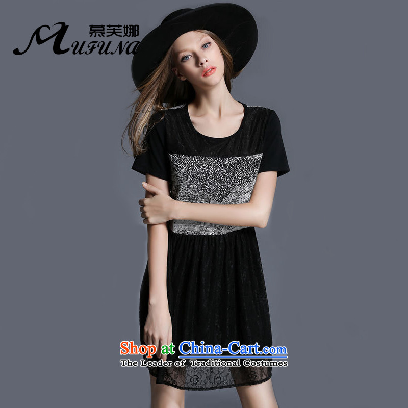 Improving access of thick large sister 2015 Women's Summer new stylish stitching Sau San video thin round-neck collar short-sleeved dresses聽聽XXXXL 1965 Black