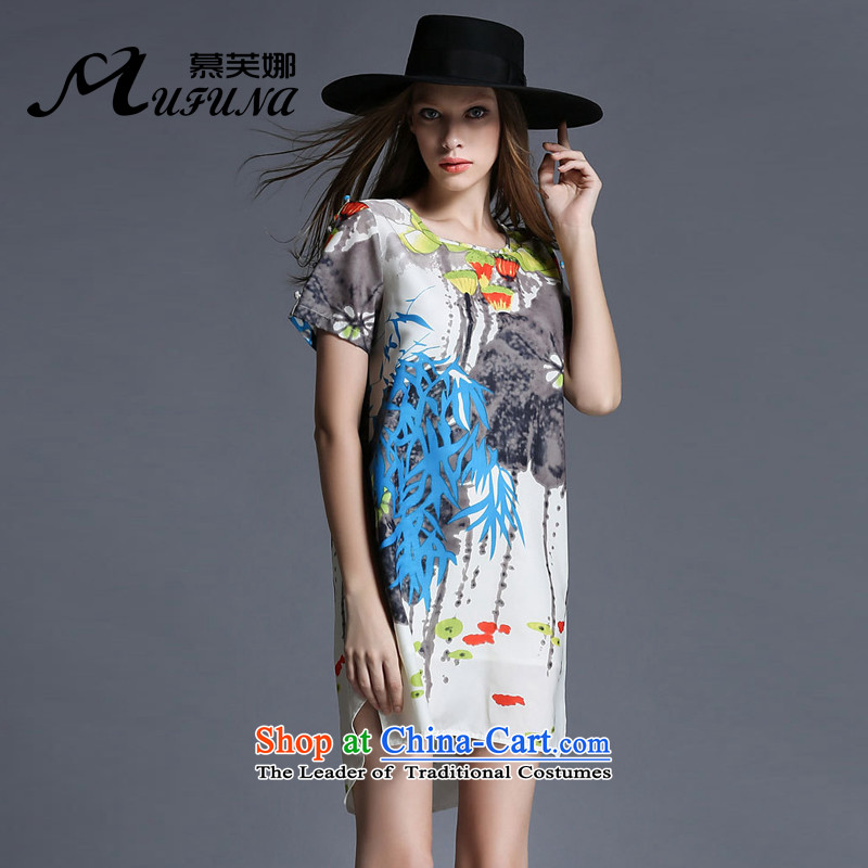 Improving access of thick large sister 2015 Women's summer to intensify the skirt niba stamp Sau San loose video thin chiffoncoloredXXXXL 1936 skirt picture