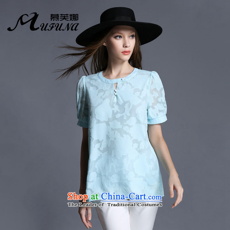 Improving access of thick large sister women 2015 Summer new water-soluble, the floral decorations of the thin solid color graphics Sau San wild T-shirt聽1929聽light blue聽XL