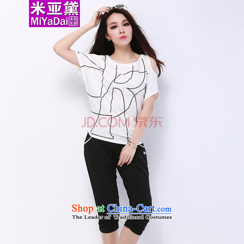 The Doi larger female kit fat mm Summer 2015 new thick sister bat sleeves relaxd casual sports two kit to 200 whiteXXXL