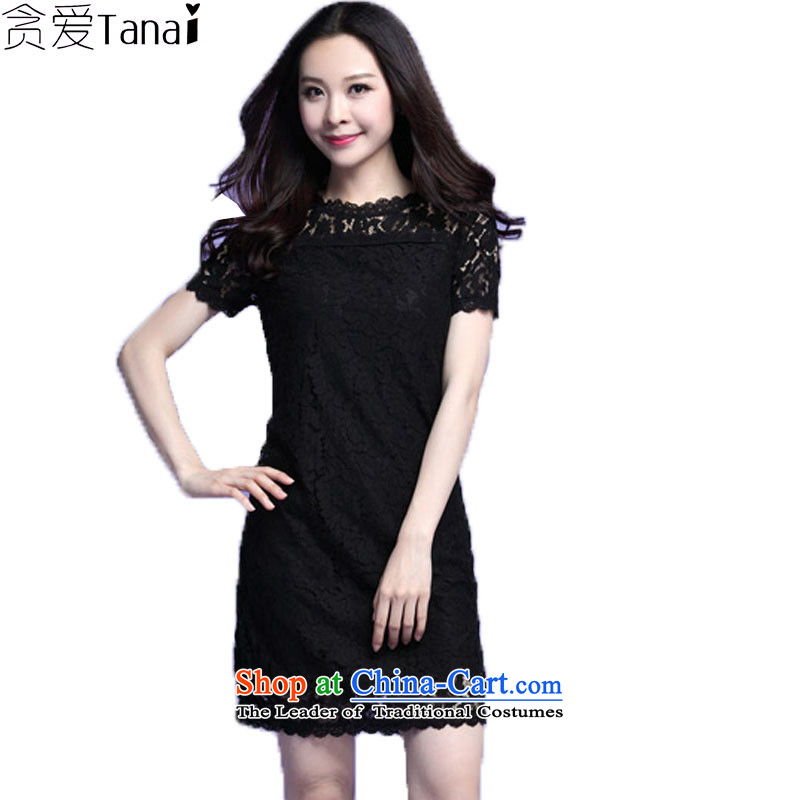 Indulge larger female thick sister summer engraving lace short-sleeved dresses 3721 Black�L