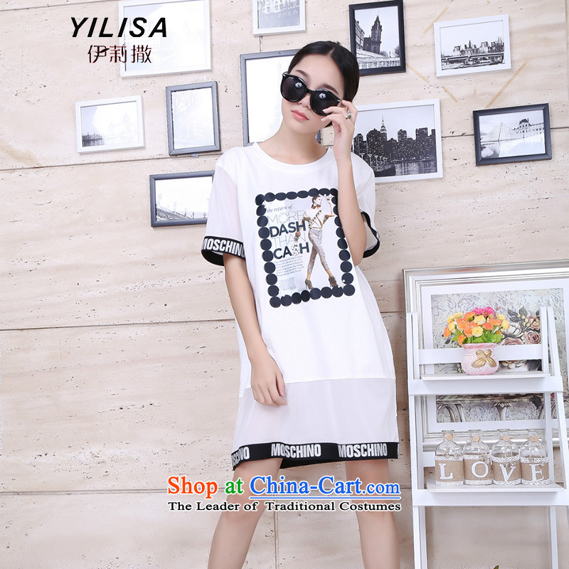 To increase the number YILISA Women's Summer thick mm video thin dresses 200 catties. Long Beauty Figure forming the relaxd dress Y9107 White XXL