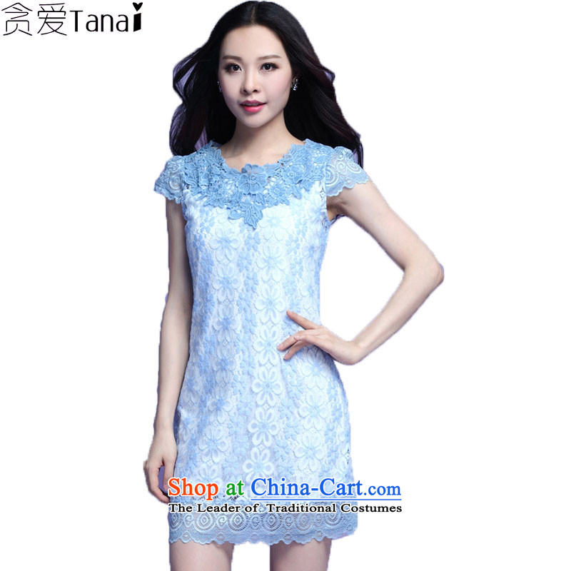 Coveted summer thick sister xl female engraving lace collar short-sleeve skirt the 3726th blue�L