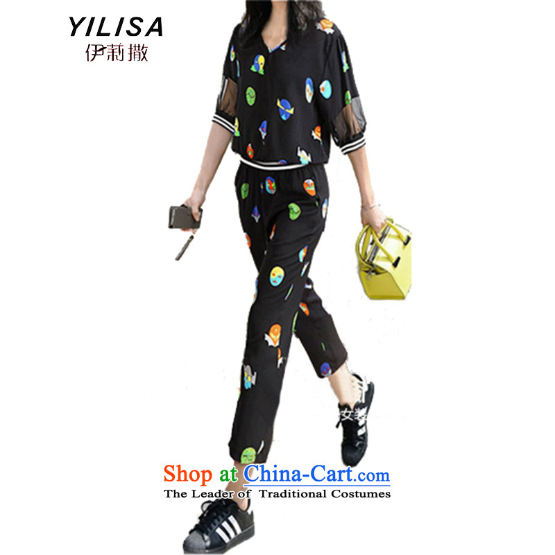 The new Europe and the largest YILISA Code women's summer t-shirt kit fat mm sports and leisure chiffon light jacket coat loose trousers Y5565 9 black4XL