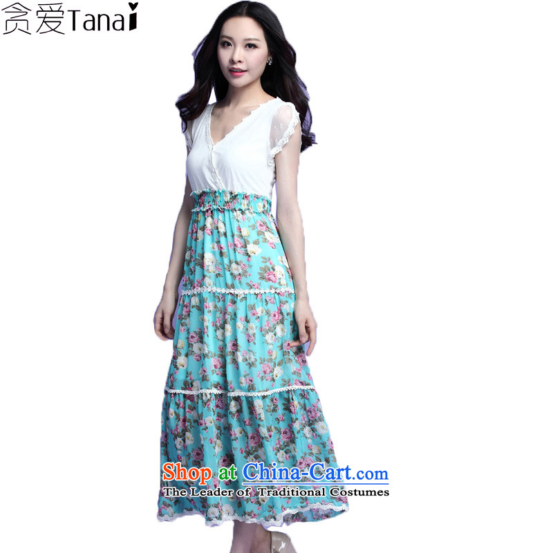 Coveted summer xl female thick sister two fake chiffon lace floral long skirt suits 3725 Green燲XXL