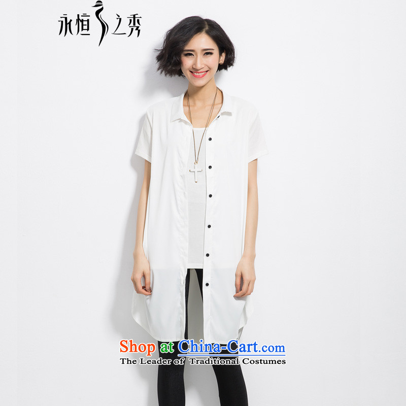 The eternal summer 2015, Sau thick mm new larger female single row for loose video in thin long white shirt燲L