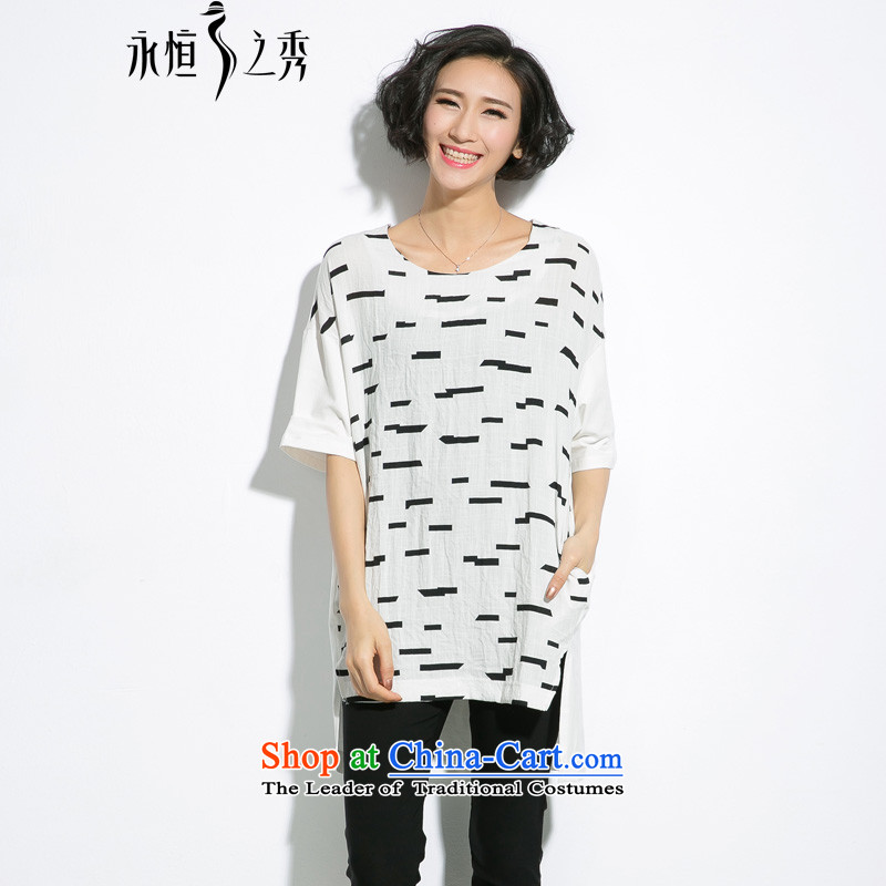 The eternal summer 2015, Sau thick mm new larger female former long after the short video thin personalized stamp relaxd T-shirt White燲L
