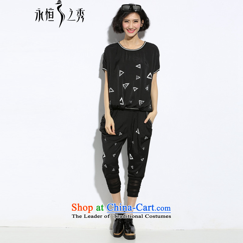 The Eternal Soo-To increase the number of female graphics thin tee trouser press kit fat mm new summer products Korean thick fashionable individual persons younger sister thick stamp short-sleeved black燲l_t kit shirt + pants_