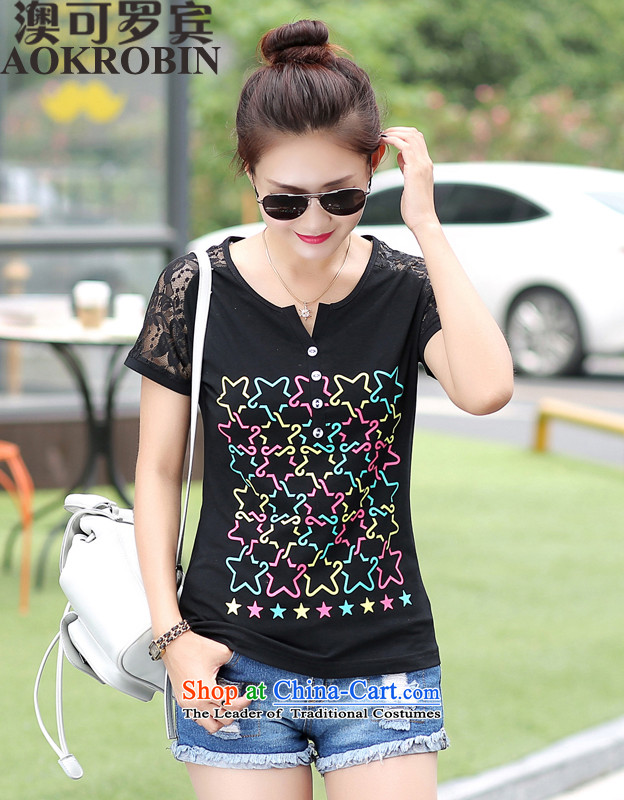 O can be聽increased by 2015 Robin to persons of thick women large summer compassionate round-neck collar loose short-sleeved T-shirt black聽3XL_ recommendations 145-160 catties_