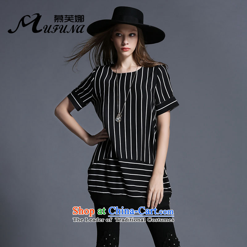 Improving access of 2015 mm thick larger women's summer new expertise, Hin thin strips in the t-shirt, long stamp loose video thin T-shirt聽1966聽Black聽XXL