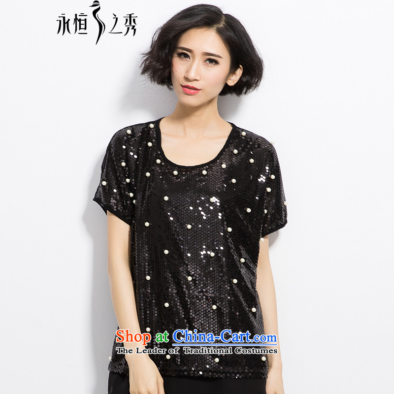 The Eternal-soo to xl t-shirts thick mm Korean new summer products thick sister thick, Hin thin film on the new stylish bubble in the Pearl River Delta Long Short-sleeved T-shirt black�L