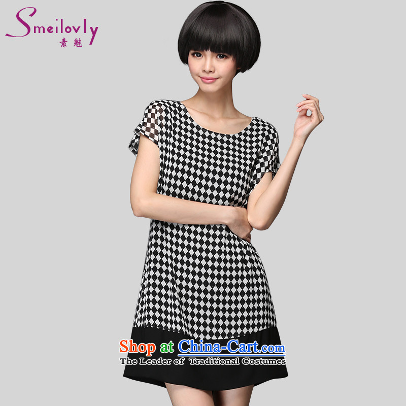 The Director of the 2015 Summer new 200 catties to increase women's sister code Korean short-sleeved latticed chiffon dresses Graphics, 2894black and white thin large 4XL around 922.747 180