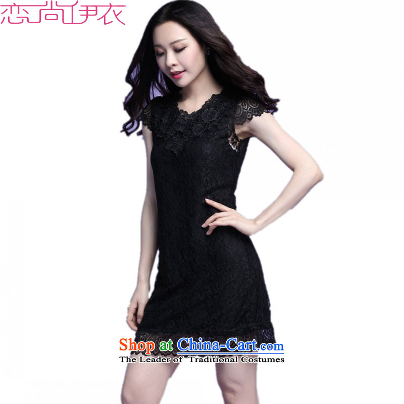 Package Mail C.o.d. obesity mm summer plus new larger engraving lace collar A short-sleeved dresses OL commuter Sau San short skirt black4XLabout weighs 160-170 catty
