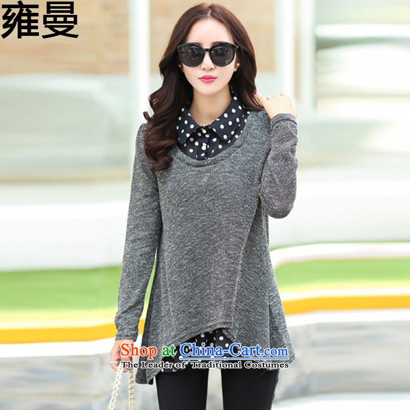 And Cayman聽 2015 Autumn engraving grid stitching larger women's dresses聽 Y9053聽picture color聽L