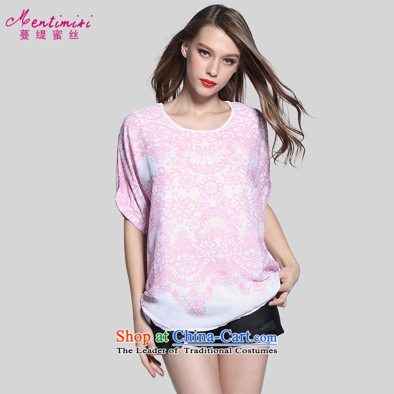 Golden Harvest large population honey economy women for summer to intensify the Korean version of the Fat MM stamp chiffon short-sleeved T-shirt1648pink large 4XL around 922.747 175