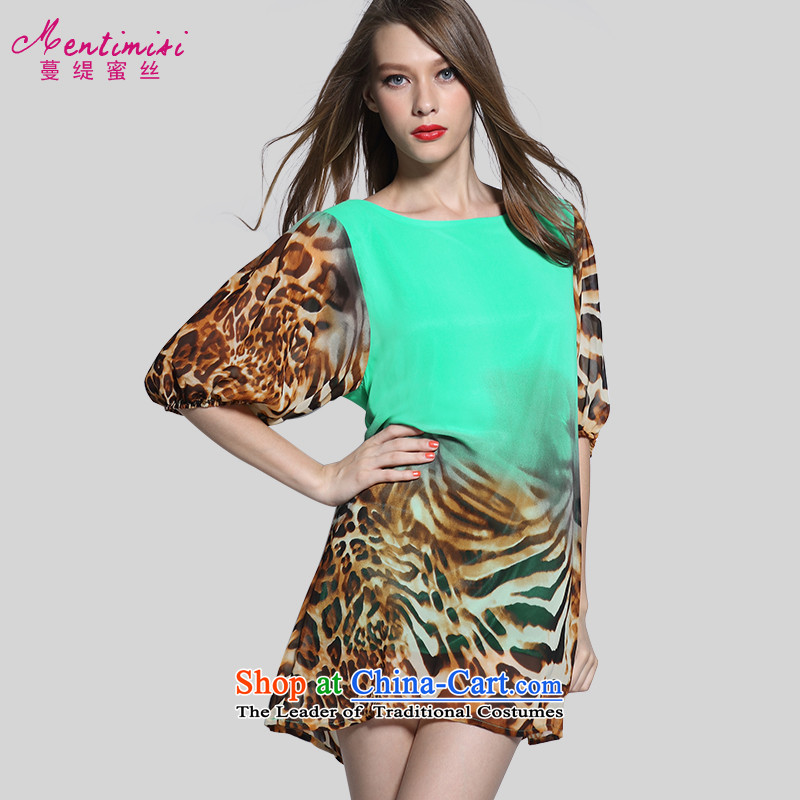 Overgrown Tomb economy honey population large new 2015 Women's summer to increase expertise MM Leopard Stamp chiffon dresses 2635 large green code 4XL around 922.747 175
