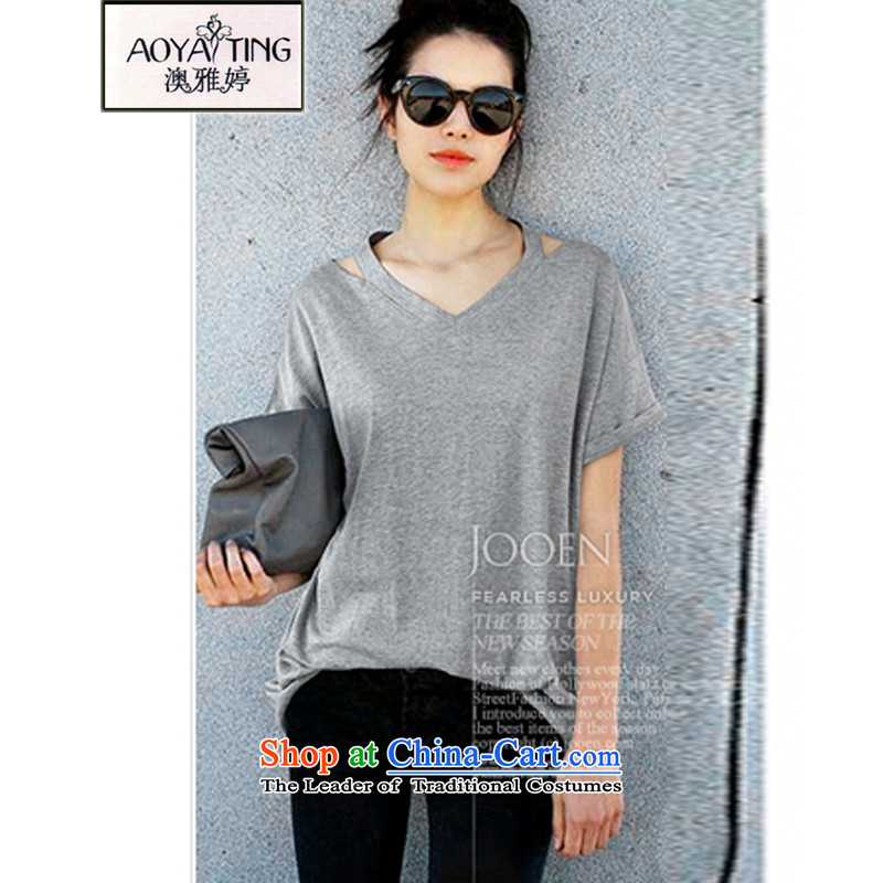 O Ya-ting 2015 Summer new to increase women's code thick mm Korean Version V-neck shirt   short-sleeved T-shirt gray XL 115-128 recommends that you Jin
