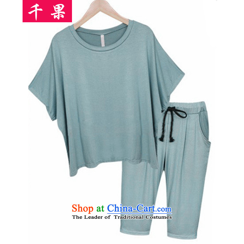 Thousands of fruit xl women 2015 new summer thick sister video thin modal cotton T-shirt with round collar + elastic waist Capri two Kit387MINTCREAM4XL recommendations around 170-190 microseconds catty