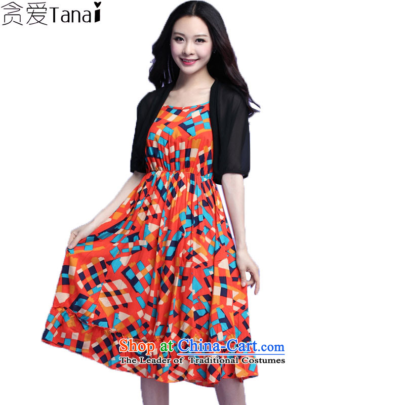 Coveted thick sister larger women's summer thick mm chiffon shawl strap dresses really two kits was 3727 ORANGEXXXL